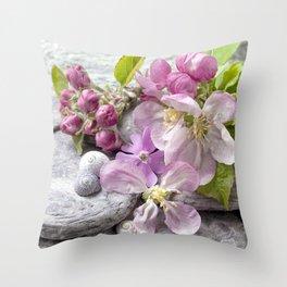 Appleblossom and shell still life Throw Pillow