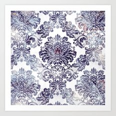 Blueberry Damask Art Print