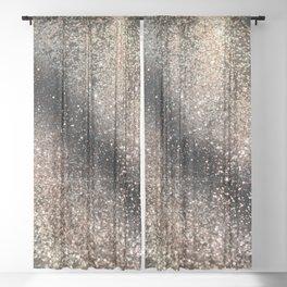 Sparkling GOLD BLACK Lady Glitter #3 #decor #art #society6 Sheer Curtain