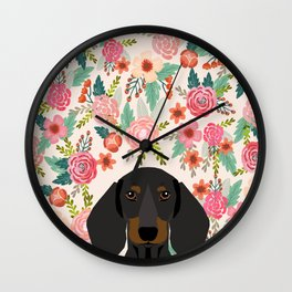 Dachshund floral dog head cute doxie must have pure breed weener dog gifts Wall Clock