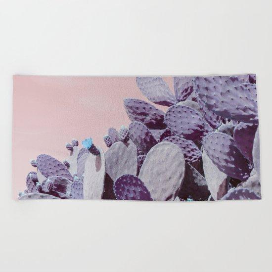 pink cactus Beach Towel
