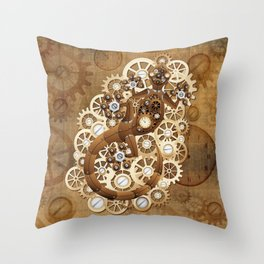 Steampunk Gecko Lizard Vintage Style Throw Pillow