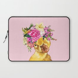 Flower Crown Baby Duck in Pink Laptop Sleeve