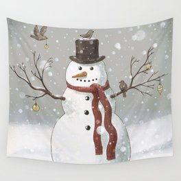 Christmas Snowman  Wall Tapestry