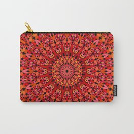 Red Geometric Bloom Mandala Carry-All Pouch