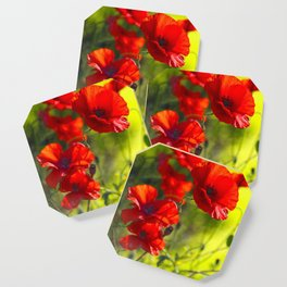 Red Poppies on green background #decor #buyart #society6 Coaster