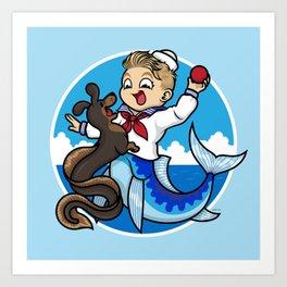 A Merboy and his Sea Dog Art Print