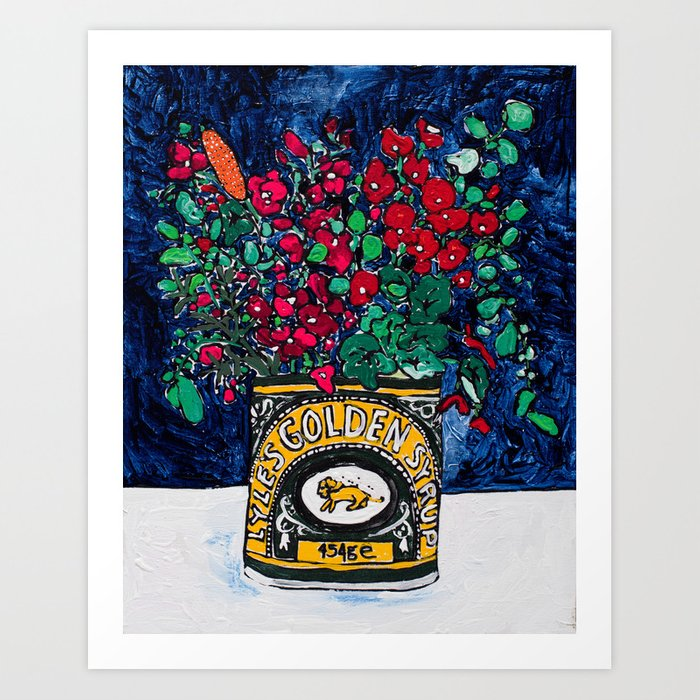 Wild Flowers in Golden Syrup Tin on Blue Art Print