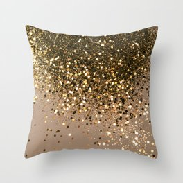 Sparkling Gold Brown Glitter Glam #1 (Faux Glitter) #shiny #decor #art #society6 Throw Pillow