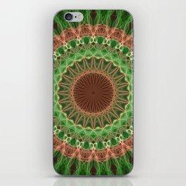 Green and orange mandala iPhone Skin
