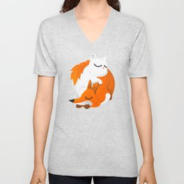Fox and cat Unisex V-Neck