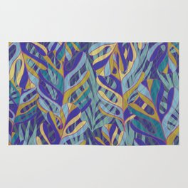 Tropical Leaves, blue and mustard pattern Rug