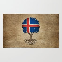 Vintage Tree of Life with Flag of Iceland Rug