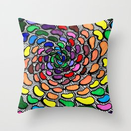 The Jelly Bean Explosion Throw Pillow