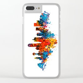 Dallas Watercolor Skyline Clear iPhone Case