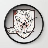 okami Wall Clocks featuring God Hound [Okami] by Ruwah