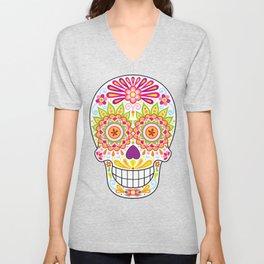Psychedelic Sugar Skull (Polychromasia) Unisex V-Neck