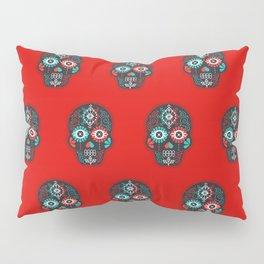 Día de Muertos Calavera • Mexican Sugar Skull – Black & Turquoise on Red Starburst Pillow Sham