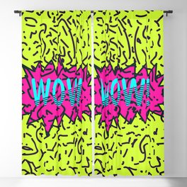 Neon Retro 80's 90's Scribbled Wow! Typography Blackout Curtain