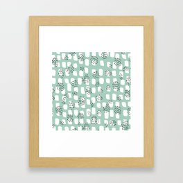 Spotted series abstract dashes and dots mint black and white raw paint texture Framed Art Print