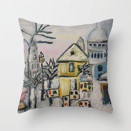 Snow in Paris Throw Pillow