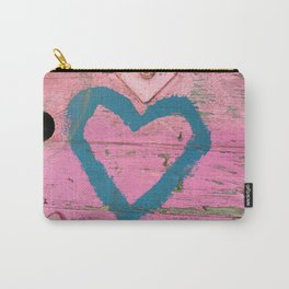 Blue heart on pink Carry-All Pouch