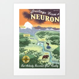 Greetings from a Neuron Art Print