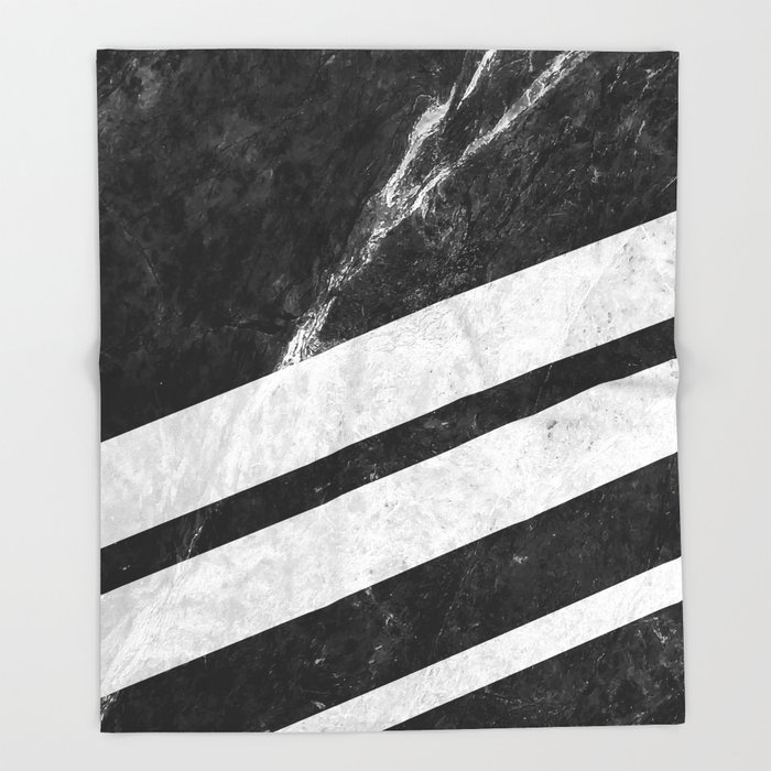 Black Striped Marble Throw Blanket