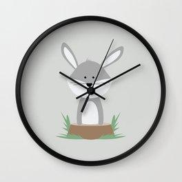 Rabbit on Stump Wall Clock