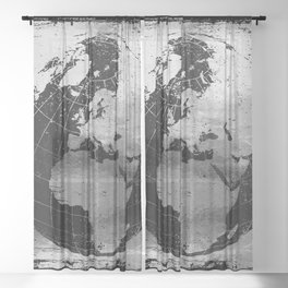 Old Metal Chart of the Earth Sheer Curtain