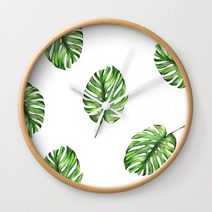 Monstera green leaves Wall Clock