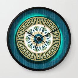Turquoise Lotus Mandala Wall Clock