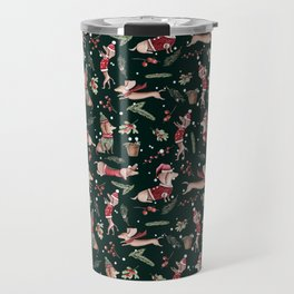 Dachshund in the snow on green Travel Mug