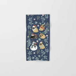 Christmas Pugs Hand & Bath Towel