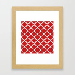 Arabesque Architecture Pattern In Red Framed Art Print