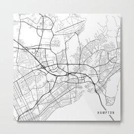 Hampton Map, USA - Black and White Metal Print