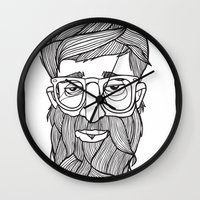 beard Wall Clocks featuring Beard by Lawerta