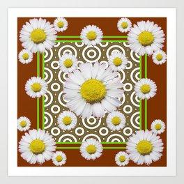 Modern Coffee Brown Deco Style Shasta Daisies Art Art Print
