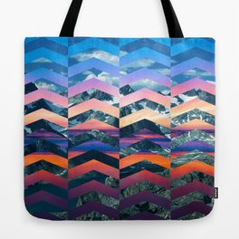 Sunsetting Mountains -Wide Chevrons Tote Bag