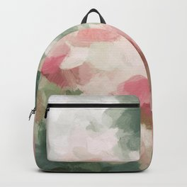 Forest Sage Green Fuchsia Pink Floral Rose Garden Abstract Flower Painting Art Print Wall Decor  Backpack