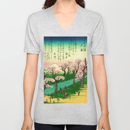Evening Glow at Koganei Bridge Unisex V-Neck