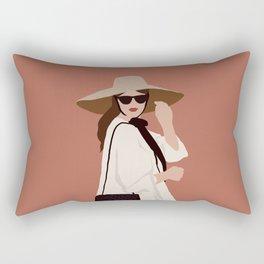 Girl in a fancy hat Rectangular Pillow
