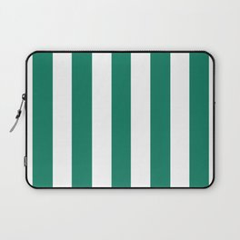 Deep green-cyan turquoise - solid color - white vertical lines pattern Laptop Sleeve