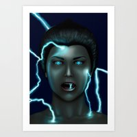 lightning Art Prints featuring Lightning by Egberto Fuentes