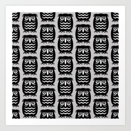 Mid Century Owl Pattern Grey 22 Art Print