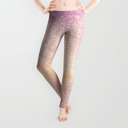 Pink Rose Gold Metallic Glitter - v4 Leggings
