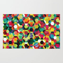 Colorful Half Hexagons Pattern #02 Rug