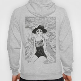 Woman on the beach black and white illustration Hoody