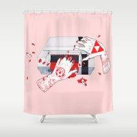 nintendo Shower Curtains featuring Nintendo Dentata by scoobtoobins