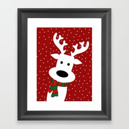 Reindeer in a snowy day (red) Framed Art Print